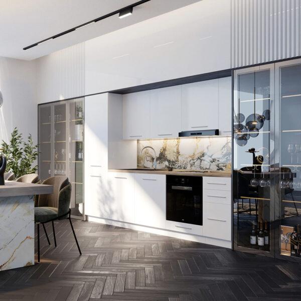 Blok kuhinja 280cm drveni sokl scaled 1