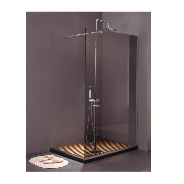 colored glass frameless walk in shower