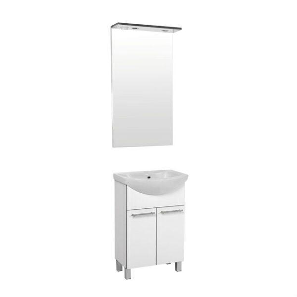 NEVA 55 GARNITURA KUPAONSKA bijela sjaj 3D kant 2 vrata softclose ogledalo s halogenom rasvjetom i uticnicom 55x50 1